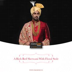 Wedding Sherwani, Red Indian, Churidar, Stylish Men, Mens Suits, Pajamas, Blazer, Silk, Formal
