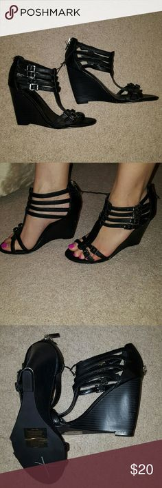 Express wedge Never been worn. Cute strappy wedge with silver buckle detail. Scuff on inner right side of shoe. Express Shoes Wedges