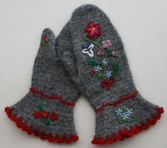 Womans Dalbyvantar/mittens in the old technique needlebinding/nålbindning. Swedish Embroidery, Hand Embroidery, Crochet Mittens, Knit Crochet, Felted Wool Crafts, Viking Knit, Yarn Inspiration, Embroidered Clothes, Textiles