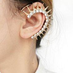 $1.87 Punk Style Rhinestone and Stud Embellished Clip EarringFor Women