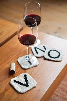 "What a fun idea, knit coasters that spell ""vino"" for you to place your wine (vino) glasses on!"