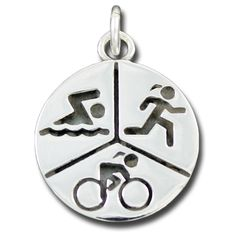 Sporty Gal Triathlon Pendant - rich and thick sterling silver created with lost wax casting. Looks great on black leather or dressed up on a sterling chain. You worked hard for this! Engrave the back with your race name, date, and finish time! There is room on this pendant to engrave your splits.