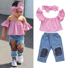 9.79AUD - Stylish Toddler Girls Kids Off Shoulder Tops Ripped Pants Jeans 3Pcs Outfits Set #ebay #Fashion