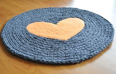 Rug by EKRA Round Orange Heart Charcoal Gray Crochet от ekra, $40.00