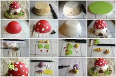 Mushroom House Cake TUTORIAL http://blog.giallozafferano.it/evelindecora/torta-baby-tv/