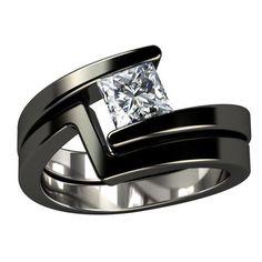 Black Titanium Engagement Ring