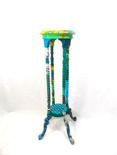 Turquoise barley twist aspidistra stand