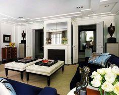 navy, white + black #living room #traditional