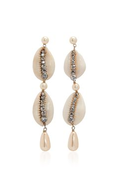 Shop Shell, Crystal And Faux Pearl Earrings . Etro's long shell drop earrings are designed with a double drop of crystal embellished shells on a pearl post. Bar Stud Earrings, Pearl Drop Earrings, Beaded Earrings, Silver Earrings, Shell Earrings, Pearl Studs, Clip Earrings, Crystal Earrings, Silver Ring