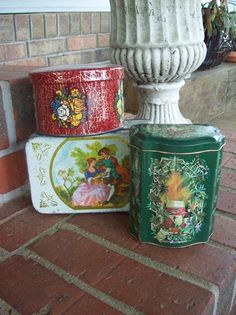 Vintage Boxes DAHER Tin Box Storage French Country by misshettie, $12.00