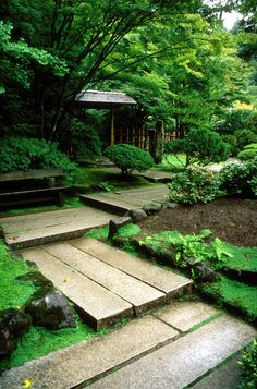 Portland's Japanese Gardens. The path here turns at right angles because it is believed that evil spirits can only travel in straight lines and therefore have trouble navigating the corners