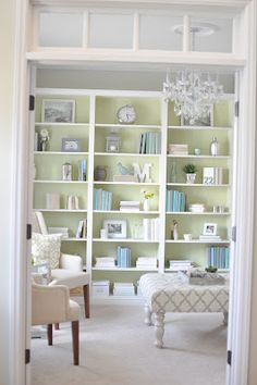 Freshen up your bookcases with a little color and some cohesive design via Not So Newlywed McGees