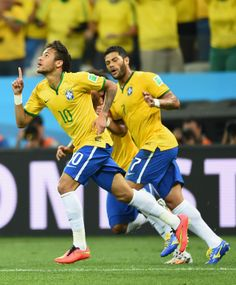 Neymar of Brazil celebrating his goal against Croatia in the 2014 World Cup