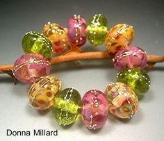 HANDMADE LAMPWORK GLASS Bead Set  Donna Millard by DonnaMillard, $45.00