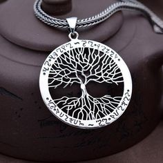 "Men's Sterling Silver Tree Necklace with Sterling Silver Wheat Chain 18""-24"""