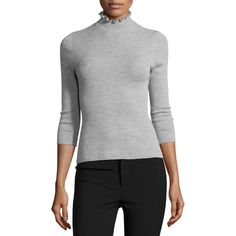 Rebecca Taylor Merino Wool Mock-Neck Sweater (€255) ❤ liked on Polyvore featuring tops, sweaters, light heather gre, three quarter sleeve tops, sweater pullover, flutter-sleeve top, ruffle top and 3/4 sleeve sweaters