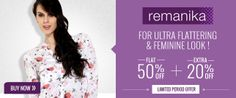 #RemanikaClothing Collection: Wide varieties of clothing collection for women in India. Buy designer womens clothes from top brand remanika with flat 50% Off discounted price. Remanika is one of the most popular brand for womens clothing which offering lowest price on remanika dresses, kurtas, kurtis, salwar kameez & more with free shipping across india..