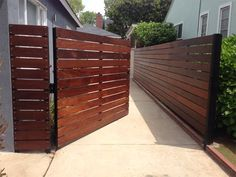 modern wooden fences and gates modern wood gate modern fence gate backyard gate ideas best side gates ideas only on modern Driveway Fence, Backyard Gates, Patio Fence, Front Fence, Garden Fencing, Front Yard Fence Ideas Curb Appeal, Fence Planters, Fence Landscaping, Wood Fence Design