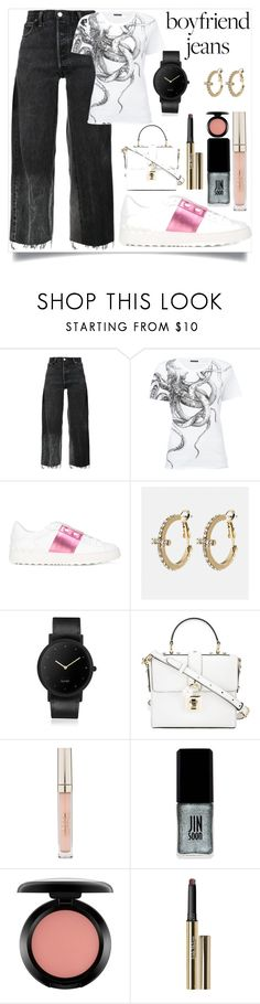 """""""Borrowed from the Boys: Boyfriend Jeans"""" by camry-brynn ❤ liked on Polyvore featuring RE/DONE, Alexander McQueen, Valentino, Avenue, South Lane, Dolce&Gabbana, Stila, JINsoon, MAC Cosmetics and Trish McEvoy"""