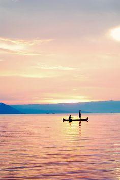 Fishermen during the sun set.
