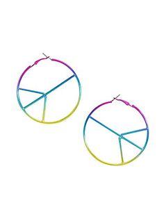 Blackheart Anodized Rainbow Peace Sign Hoop Earrings,