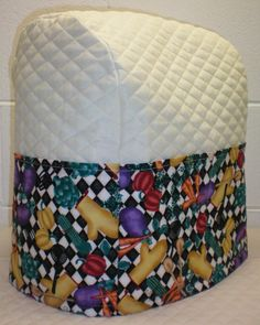 Cream Quilted Cooking Vegetables Cover for Sunbeam Heritage Series 4.6qt Mixmaster Stand Mixer w/6 Pockets