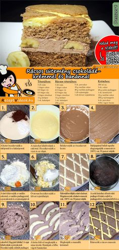 The Fake lattice cake with chocolate cream and bananas is an amazing dessert you will want to eat seconds of! You can easily find the recipe by scanning the QR code in the top right corner! Banana Recipes Videos, German Bakery, Jaffa Cake, Hungarian Recipes, Banana Cream, Chocolate Cream, Recipe Cards, Fun Desserts, Food Hacks