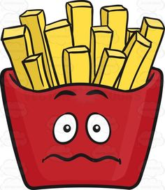 Ideal Nervous Red Pack Of French Fries Emoji Cartoon Clipart