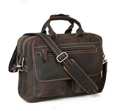 "Image of Crazy Horse Leather Multi-functional Men's Briefcase Messenger 16"" Laptop Macbook Bag Birthday Gift"