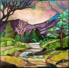 """""""Watching the River"""" Stained glass by Jini. This is absolutely gorgeous! Glass Wall Art, Stained Glass Mosaic, Glass Painting, Stained Glass Tattoo, Art, Glass Art Projects"""