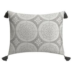 Cupcakes And Cashmere  Gray Dotted Medallion Pillow Sham ($40) ❤ liked on Polyvore featuring home, bed & bath, bedding, bed accessories, grey, grey shams, gray pillow shams, oversized bedding, moroccan bedding and grey polka dot bedding
