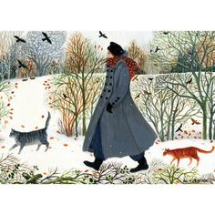 One of Green Pebble's most popular greeting cards, this painting of a woman walking in the snow with her cats is by British artist Dee Nickerson. A classic! Winter Illustration, Illustration Art, Buch Design, Painting Snow, Winter Art, Whimsical Art, Winter Scenes, Illustrations, Dog Walking