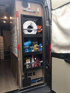 Rv Storage, Locker Storage, Camper Hacks, Rv Hacks, Camper Ideas, Class B Motorhomes, Sprinter Camper, Rv Organization, Rv Interior