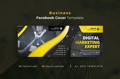 Business Facebook Cover Template AI, EPS Facebook Cover Template, Templates, Business, Stencils, Vorlage, Store, Business Illustration, Models