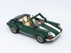 Porsche (Made from the Official LEGO Mini-Cooper set) Moc Lego, Lego Wheels, Porsche 911 Cabriolet, Cool Lego Creations, Lego Design, City Car, Lego Projects, Lego Instructions, Retro Cars