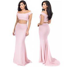 New arrival // Blush Off Shoulder Maxi Two Piece Set Dress // Limited quantities!  Shop: emprada.com