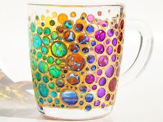 Bubbles Coffee Mug Hand painted colorful mug Mosaic Cup Coloured Bubbles Mug rainbow bubbles mug bright mug multi colored mug customized mug by StainedGlassHandmade on Etsy https://www.etsy.com/listing/246554791/bubbles-coffee-mug-hand-painted-colorful