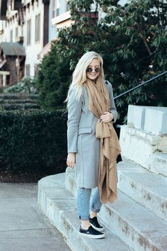 Winter outfit inspiration: camel and gray neutrals | what to wear in the winter | gray coat and camel blanket scarf | winter neutrals |