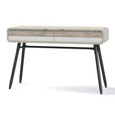 Kuta Range to Kuta Reclaimed Wood Office Desk with 2 Drawer Storage - Industrial Style BUN/KUT005/70400