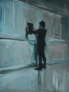 Eva de Visser – Title: T's Appearance 3 (De Verschijning van T 3). Oil on canvas. W: 20 cm x H: 30 cm. 2014