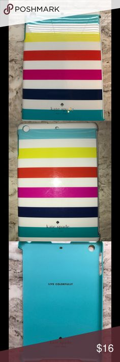 Kate Spade Live Colorfully IPad Mini Cover Kate Spade Hardcase for iPad mini with Retina display.  Multi color Stripes.  In good used condition.  One of the corners has a small chip, however, the case still fits securely. kate spade Accessories Tablet Cases