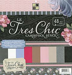 Le Tres Chic Cardstock Stack -48 sheets of textured, glittered, and metallic cardstock  - $19.99