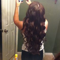 """Beach Curls/Waves using conical Revlon curling iron. Go to You tube and type """"how to use conical curling iron for tips""""."""