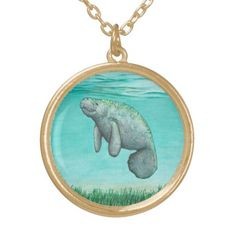 """Jewelry - Necklaces and Lockets ••• """"Mossy Manatee"""" - watercolor art ~ Endangered species series by Amber Marine. ••• AmberMarineArt.com •••"""