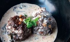 Yotam Ottolenghi's lamb meatballs with warm yoghurt and Swiss chard