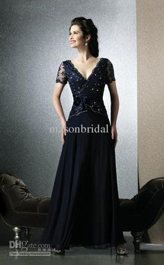 Wholesale New Fashion Navy Blue Chiffon Short Sleeve A-line Elegant Sequin Sexy Mother Of The Bride Dresses, Free shipping, $95.2-126.56/Piece | DHgate