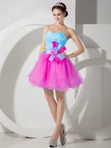 Baby Blue and Hot Pink Organza Prom Dress for Graduation with Hand Flower