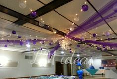 #decoration #balloons #ceiling #purple #lavender #dancefloor Purple Wedding Decorations, Balloon Decorations, Gold Birthday Party, Sweet 16 Birthday, Roof Decoration, Pallet Wedding, Masquerade Party, Ceiling Decor, Party Planning
