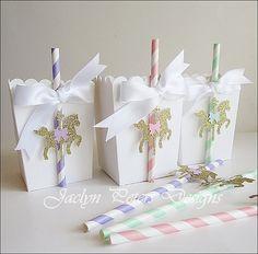 Popcorn Favor Box, Carousel Baby Shower, Girls Birthday Party, Gold Glitter, Pink, Mint, Lavender, Dessert Bar Decor, Candy Box, Set Of 12