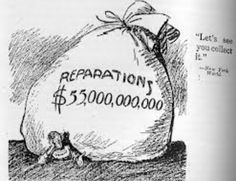 Political cartoon that illustrates the outcome of Germany after The Treaty of Versailles mostly affected Germany, who had to pay for all the reparations caused by War. In the cartoon the bag of money seems to be holding Germany back from doing anything. Study History, History Class, Us History, History Education, The Case For Reparations, Reparations For Slavery, Modern World History, European History, Black History